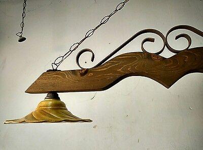LAMPADARIO RUSTICO IN ferro battuto e legno mod.Bilanciere 2 luci taverna  cucina
