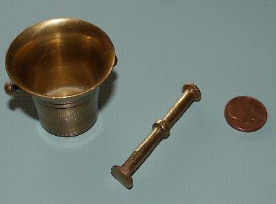 Alter Mörser & Stößel Pistill Miniatur Apotheke Messing Antik Vintage klein 2