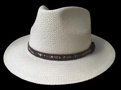 "Panama Hat Gr.57 Curved Brim "" Made in Ecuador "" Fiber from Toquillas 3"