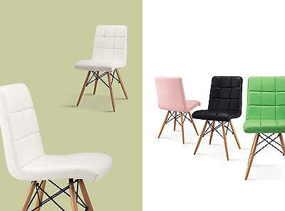 4 Er Set Stuhl Esszimmer Pu Leder Weiss Designerstuhl Chair Fur