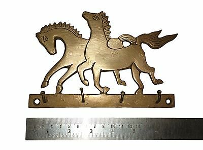 An Old & Lovely Brass made Unique RUNNING HORSES Coat Hook KEY HANGER from India 2
