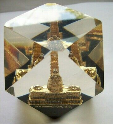 Washington DC Capitol+ Monument Vtg Souvenir Paperweight Faceted Lucite Acrylic 7