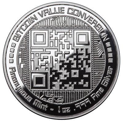 BITCOIN VALUE CONVERSION 1 oz .999 Solid Silver Proof Round Color Coin W/ COA 3