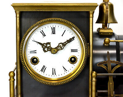 Large French Style 8 Day Brass Automaton Locomotive Industrial Train Clock 7