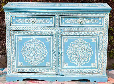 Antique Indian Bone Inlay Blue Hand Painted Buffet Moroccan Sideboard Cabinet 3