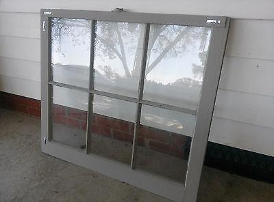 Old Vintage Unique Antique Window Frame 6 Pane Sash 32X28 Painted Gray 3