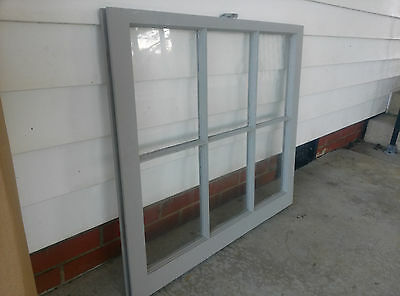 Old Vintage Unique Antique Window Frame 6 Pane Sash 32X28 Painted Gray 2