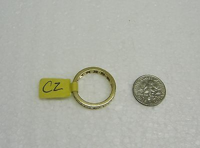 14K Yellow Gold Channel Set Baguette/Round Cubic Zirconia Ring Size 8 G32-R 2