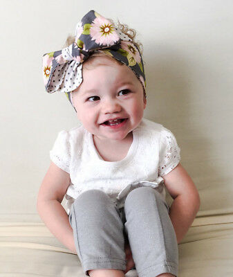 Baby Girls Floral Headwrap Top Knot Big Bow Turban Tie Headband Hair Accessories 9