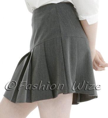 Girls Womens Pleated School Skirt Drop Waist Grey Black Navy Ages 5-16 Size 6-24 6