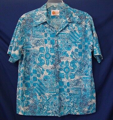 debf08b14 ... Vintage IOLANI Hawaii Men's Large Hawaiian Aloha Shirt Blue Big Collar  - Stains 2