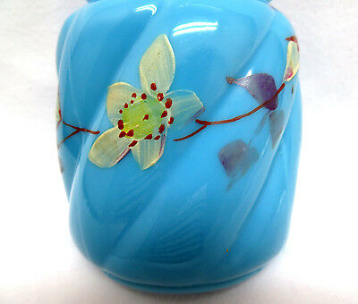 Glass Sugar Shaker Muffineer ~ Hand Painted Floral on Blue Opaline 2