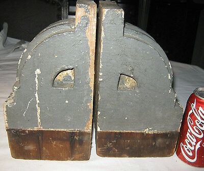 2 Antique Architectural Salvage Wood Block Corbel Industrial Art Statue Bookends 2