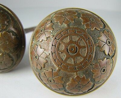 Antique Pair Bronze Door Knobs ornate flowers leaves high relief exquisite hdwr 4