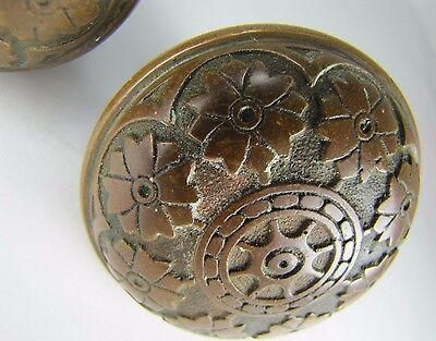 Antique Pair Bronze Door Knobs ornate flowers leaves high relief exquisite hdwr 5