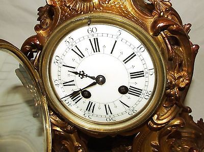 French Antique Louis XV Style Ormolu Bronze Mantel Bracket Clock c1880 5