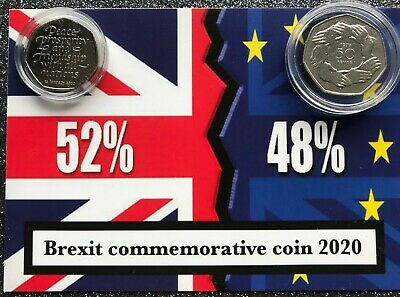 1973 and 2020  Join EU/ Brexit 50P coins mounted on BREXIT RESULT background 6
