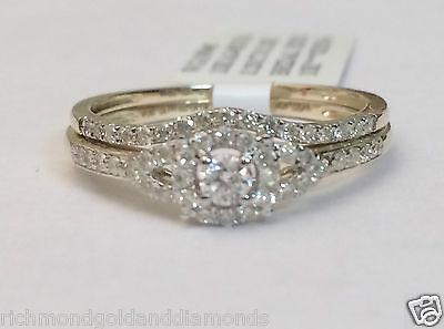 0 35ct Diamonds Yellow Gold Round Halo Style Engagement Bridal