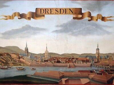 Riesige Kupferstich Stadt Ansicht Sachsen Dresden Koloriert Wolff Probst 1750