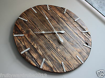 Pallet Wood Wall Clock ''Rue'' Art Industrial Vintage Rustic Retro Shabby Chic 2