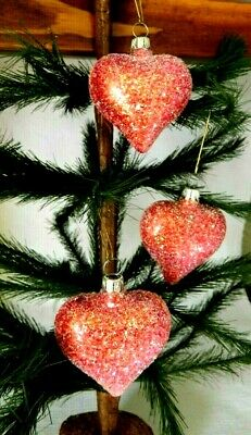 Set of 3 Small Red Sugary Puffy Hearts Blown Glass Valentine Ornaments Germany 2