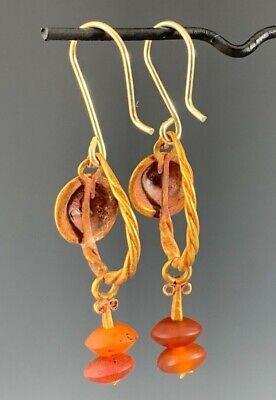 Ancient Roman Gold Shield & Carnelian Earrings; Elegant & Wearable! 5