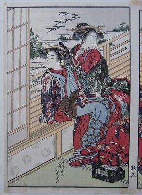 Japanese Prostitutes Woodblock Print Artists Shigemasa & Shunsho Makeup Scroll 3