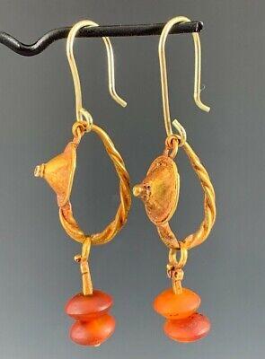 Ancient Roman Gold Shield & Carnelian Earrings; Elegant & Wearable! 4