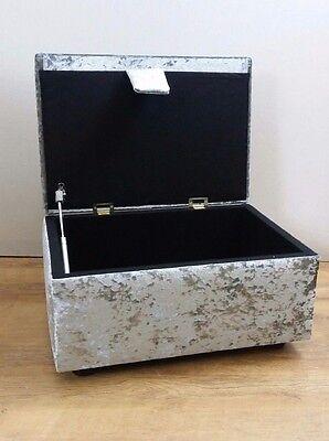 1 of 6FREE Shipping Steel Grey Crushed Velvet Stool/Storage Box/Pouffe & STEEL GREY CRUSHED Velvet Stool/Storage Box/Pouffe - £65.00 ...