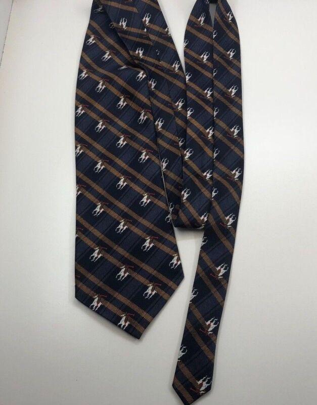 Authentic Rene Chagal Mens Tie 100% Silk Tie Polo Equestrian Blue Handmade 3
