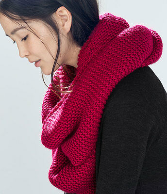 4b80a80b ... NEW AUTHENTIC ZARA Double Layer Knit Snood Infinity Scarf PINK RED  4219/222