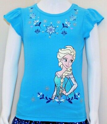 Disney Frozen Little Girls 2-Piece Elsa T shirt & Scooter Skirt Set OFFICIAL DIS 2