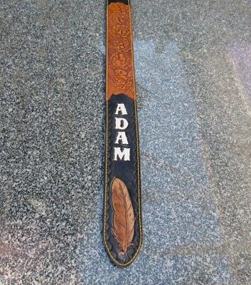 Custom Padded Leather Guitar Strap Personalized With Your Name. 2