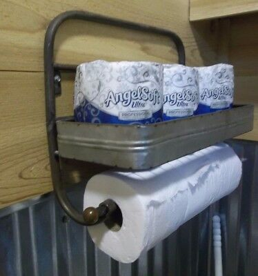 1 Of 12 Metal TOILET PAPER HOLDER Hold 6 ROLLS Rustic Farmhouse Aged TOWEL