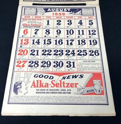 Dr Miles Nervine QUACK MEDICINE Advertising 1939 Drug Store 12 pg Calendar 13x10 8