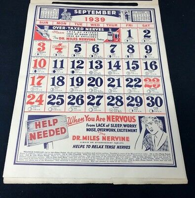 Dr Miles Nervine QUACK MEDICINE Advertising 1939 Drug Store 12 pg Calendar 13x10 9