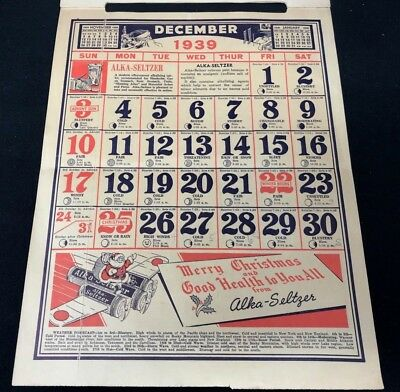 Dr Miles Nervine QUACK MEDICINE Advertising 1939 Drug Store 12 pg Calendar 13x10 12