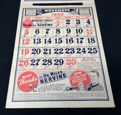 Dr Miles Nervine QUACK MEDICINE Advertising 1939 Drug Store 12 pg Calendar 13x10 11