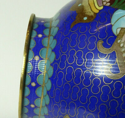 Alte Cloisonne Vase Email Top Blumen Flower alt China Asiatica 9