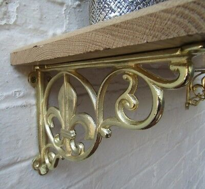 SOLID OAK WOOD HANDMADE SHELVES rustic Shelf cast iron shelf brackets 5