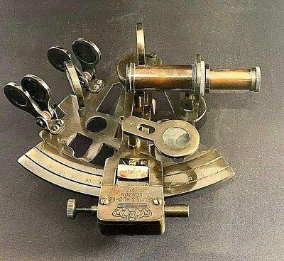 Vintage Maritime Brass Nautical Sextant Leather Case Kelvin Hughes London 1917 6
