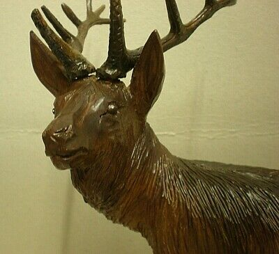 Large Antique Black Forest Stag Swiss Carving Signed 10