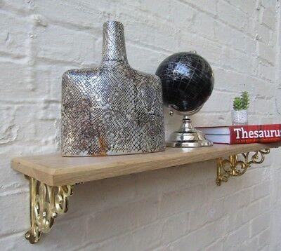 SOLID OAK WOOD HANDMADE SHELVES rustic Shelf cast iron shelf brackets 6