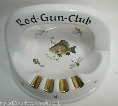 Old Sembach - Germany Rod Gun Club Porcelain Ash Tray Fish Bugs Seahorse Large
