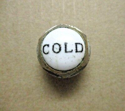 """1 Antique Porcelain Plug Button Cold Clawfoot Tub Shower Faucet 1-1/16"""" 1/4-20NC 3"""