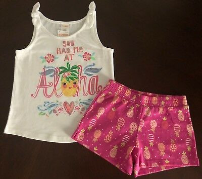 NWT Gymboree Girls Mix N Match Outfit Knit Shorts Floral White Tank  Size 10-12