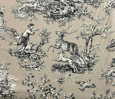 French Toile De Jouy Linen Fabric in Biege/Black/White - Double Width 280cm Wide 4