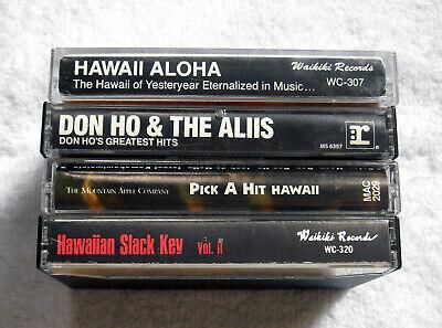 4 Hawaiian Cassette Tapes Pick a Hit Hawaii & Slack Key Volume II Don Ho Aloha 2