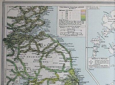 Carte Bretagne Distance.1920 Large Carte Grande Bretagne Chemin Distances Yorkshire Time Distance Zones