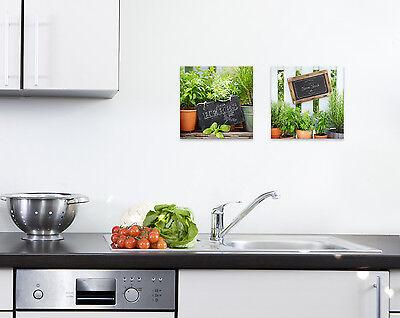 GLASBILDER DEKO WAND Bild Deco Glass Float Glas Kräuter Küchenkräuter Küche
